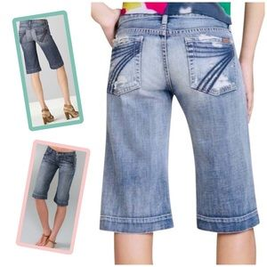 7 For All Mankind Dojo Distressed Jean Shorts 28